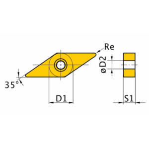 Váltólapka V/35° VNMG160408 TiN bevonattal (5 db)