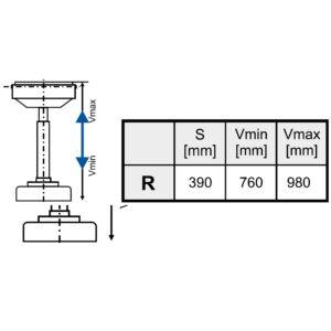 Magasságban állítható görgő a 290mm-es görgőpályához